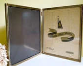 Vintage Double Photo Picture Frame, Gold Tone, Bifold Metal Hinged 8 x 10