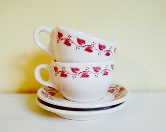 Vintage Restaurant Ware Cups & Saucers, Buffalo China, Red and White Leaves Windsor