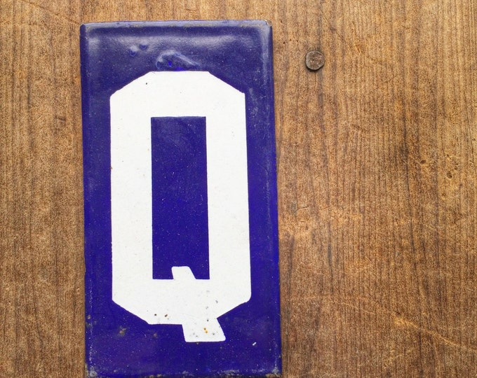 Antique Enamel Letter Q Vintage Porcelain Sign Cobalt Blue