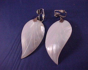 Carved Mother of Pearl Leaf Clip-On Earrings