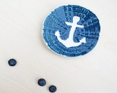 Anchor Ring Dish - Navy Blue + White - READY TO SHIP