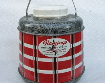 Vintage Poloron Flamingo Fiberglas Insulated Jug/Cooler