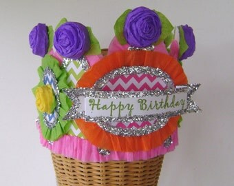 Birthday Party Hat, Birthday Party Crown, Birthday Girl Crown, Bright Birthday Crown, Customize