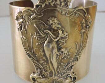 Art Nouveau Bracelet - Statement Bracelet - Art Nouveau Jewelry - Vintage Bracelet - Wide Cuff - Cuff Bracelet - Brass Jewelry - handmade
