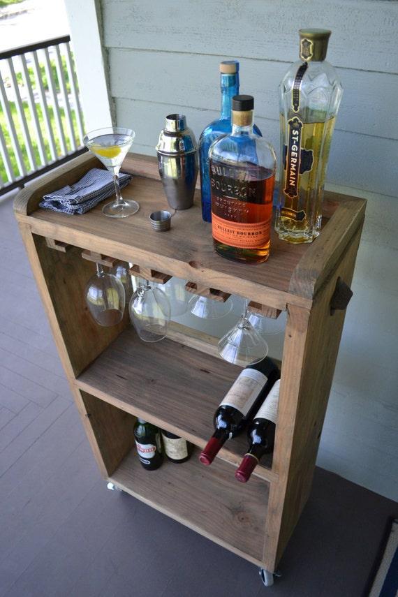 rolling bar cart wine rack kitchen bar reclaimed wood bar diy rustic kitchen island the whoot