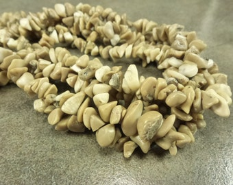 "Natural Bamboo Coral Gemstone Chip Beads Full 15"" Strand Undyed"