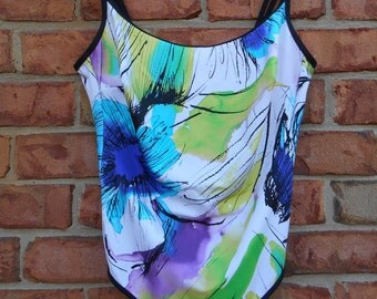 Charmline One Piece Tank Abstract Floral Swimsuit Size 14/16