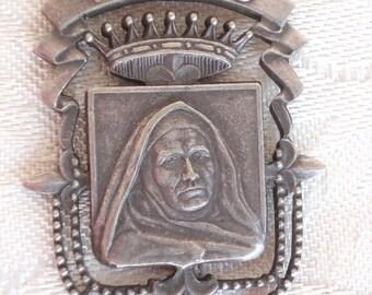 Superb antique Art Nouveau Crown Rosary Nun Catholic Medal