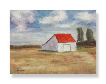 Fine Art Canvas Painting - Landscape Painting - Oil Painting with Barn - Brown, Red, Blue