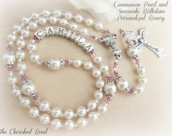 Birthstone Crystal and Pearl Personalized Girl's Communion Rosary