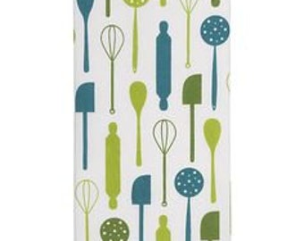 1 X Blue and Green Tea Towel, Kitchen Towel, Baking Utensil graphic, Spatula, 20 X 30