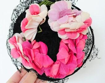 Antique small 1900s pink lilac color fascinator hat ombre petals