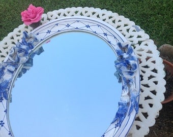 BLUE and WHITE FRENCH Provincial Mirror Signed Ceccarelli Almost 3 Ft Tall French Provincial Cottage Style On Sale at Retro Daisy Girl
