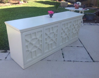 FRETWORK CREDENZA Hollywood Regency Style Fretwork Console Chippendale Console / Dresser / Chippendale Style On Sale at Retro Daisy Girl