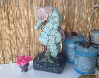 Vintage HANDCARVED SEAHORSE DECOR Turquoise Pink 21 Inches Tall Hand Carved Whimsical Seahorse Beach Cottage Style at Retro Daisy Girl