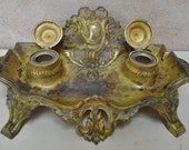 Antique French Double Inkwell - Rococo Style