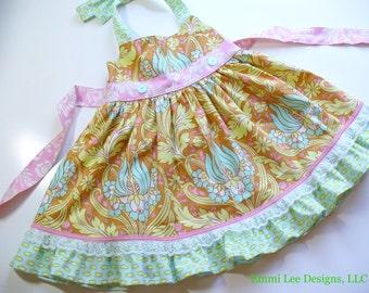 Girls Easter Dress, Spring Dress, Toddler Dress,Preschool Dress, Ellie Halter Dress, Cinnamon, Mint, Pink, Sizes 12MO,18MO,2T,3T,4T,5T,6,7,8