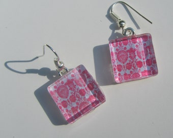 Fun Pink Damask Earrings, Glass Dangle Earrings, Bright Pink Earrings, Summer Earrings, Retro Mid Century Modern Print Earrings