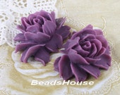 34-00-CA  2pcs Hight Quality Cabbage Rose Cabochon - Grape