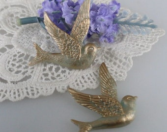 4pcs - (40x40mm) Pretty Gold Swallow Bird Cabochon - Pale Blue with Gold