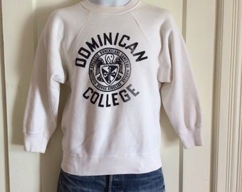 Vintage 1960s Dominican College Logo Sweatshirt looks size Small to Medium White Black fuzzy letters as-is
