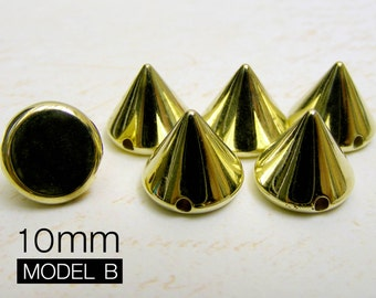 100pcs 10mm gold Acrylic Cone Spikes Beads Charms Pendants with hole