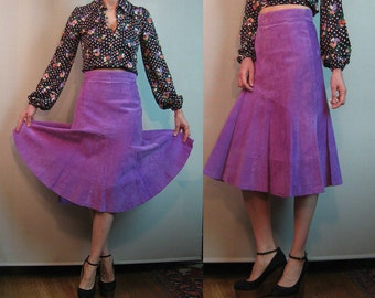 70s LILAC SUEDE PLEATED vtg Violet Purple Genuine Leather High Waist Midi Skirt xs Small s/m 1970s