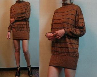 80s METALLIC COPPER STRIPES vtg Mini Knit Lurex Rayon Striped Mock Turtleneck Sweater Dress xs Small s/m 1980s