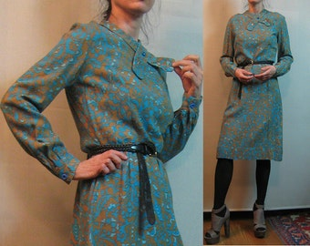 50s 60s ASYMMETRICAL TIE COTTON Rayon vtg Glass Buttons Paisley Gold Turquoise Long Sleeve Midi Dress Bow xs Small s/m 1950s 1960s
