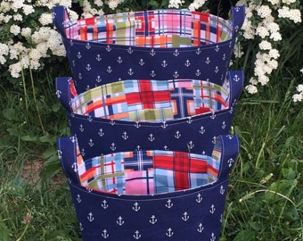 Anchor Basket- Storage Bin- Nautical Decor