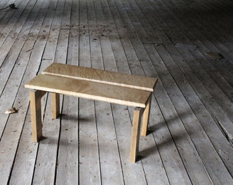 unique reclaimed oak and maple coffee table/bench with 'floating' top ... harpo