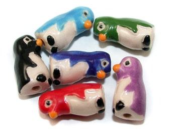 4 Tiny Penguin Beads - mixed