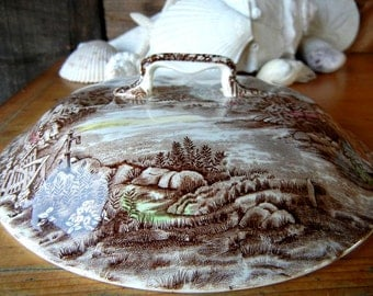 Johnson Brothers Olde English Countryside pattern Vegetable serving dish cover vintage transferware round cover with handle