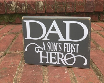 Father's Day gift from Son  distressed Wood Shelf Sitter Gift for Dad
