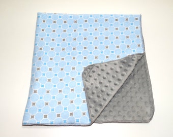 baby boy soft blanket flannel and minky dot warm baby blanket blue and gray