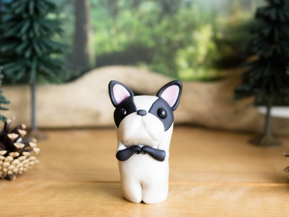 R E S E R V E D for Robyne - French Bulldog Figurine - Pied Frenchie by Bonjour Poupette