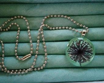 Teal dandelion necklace