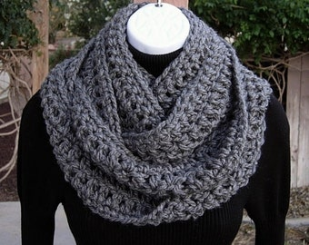 Infinity Scarf Loop Cowl, COLOR Options, Extra Long Skinny Solid Charcoal Grey Gray Soft Narrow Crochet Knit Winter, Ready to Ship in 2 Days