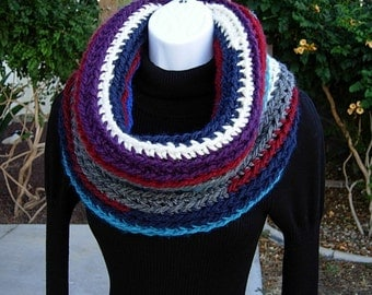 READY To SHIP Extra Large Oversized Cowl Scarf, Colorful OOAK Big Thick Chunky Bulky Striped Crochet Knit Winter Circle Soft 100% Acrylic