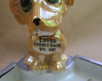Puppy Dog Ashtry-Trinket Dish-Valentine Gift-Made in Japan Lusterware Puppy Dog Cigarette Ashtray-Smoking Collectible 1950's Fancy Ashtray