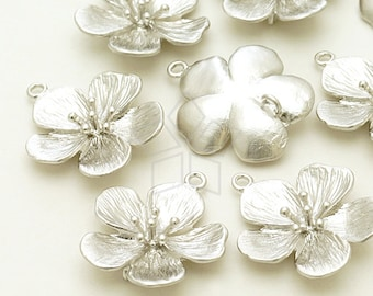 PD-1020-MS / 2 Pcs - Cherry Blossom Pandant S-Size, Matte Silver Plated over Brass / 18mm x 21mm