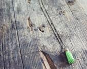 Pink Lemonade Lime Green Antique Brass Tassel Charm Necklace