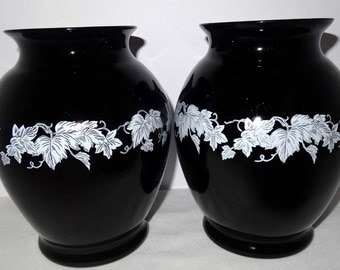 Pair of Black Milk Glass Vases Hand Painted with White Ivy Leaves Home and Garden Decor Vases Flower Vases