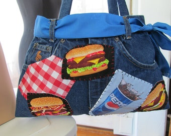 Pepsi Denim Womens Purse Upcycled Vintage Jeans Fun Wrist Bag Tote Shoulder Bag Cola Cheeseburger Pizza Patches