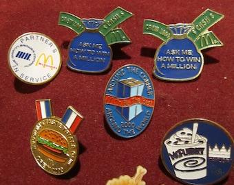 """Old lot of 7 """" McDONALD'C"""" pins"""
