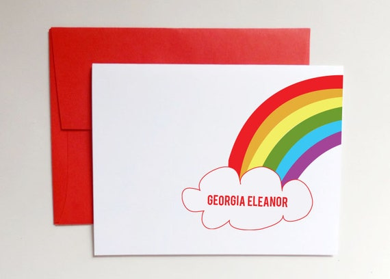 Personalized Baby Stationery Stationary - Thank You Cards for Baby Shower - Baby Rainbow