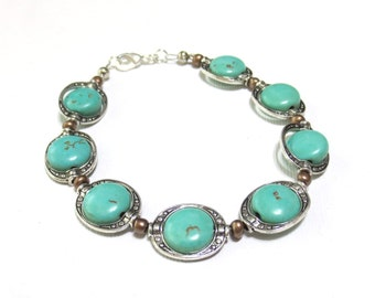 Copper and Turquoise Beaded Bracelet, Magnesite Coin Beads, Engraved Silver Bead Frames, Copper and Silver Jewelry, Elegant Bracelet