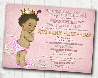 Girl Baby Shower Invitation For Girl African American - DIY Printable