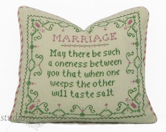Wedding Pillow Cover - 12 x 14 - Vintage Embroidered Marriage present - vows - marriage - vintage pillow cover