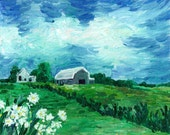 """Daisies Giclee Print of orginal oil painting, Countryscape Summer Green and Blue Art Print of original oil painting-""""Daisies"""""""